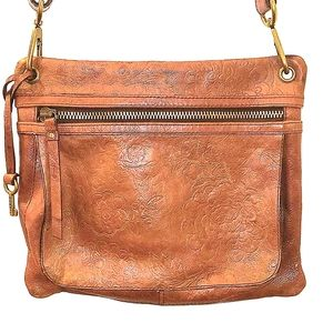 Rare Fossil floral embossed leather bag